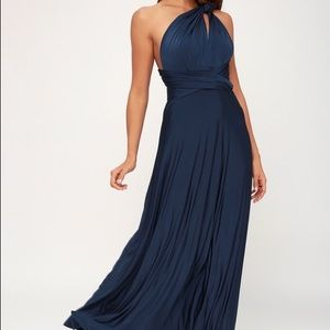Lulu's Always Stunning Convertible Navy Maxi Dress